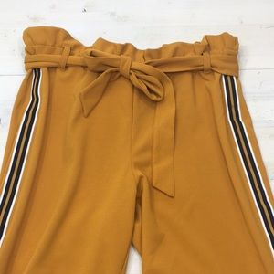 BBJ mustard paper bag pants with stripe detail szL